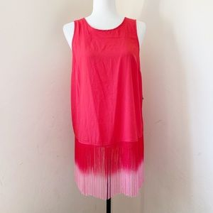 New Kenzie Red Tank with ombré fringe medium